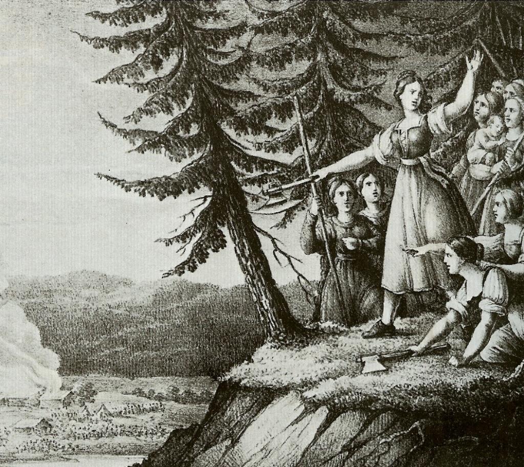 Illustration: Smålands flickor av Hugo Hamilton (1830)
