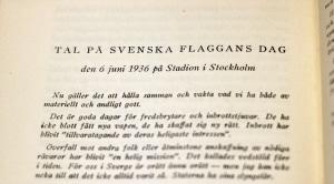 Tal på Svenska Flaggans Dag