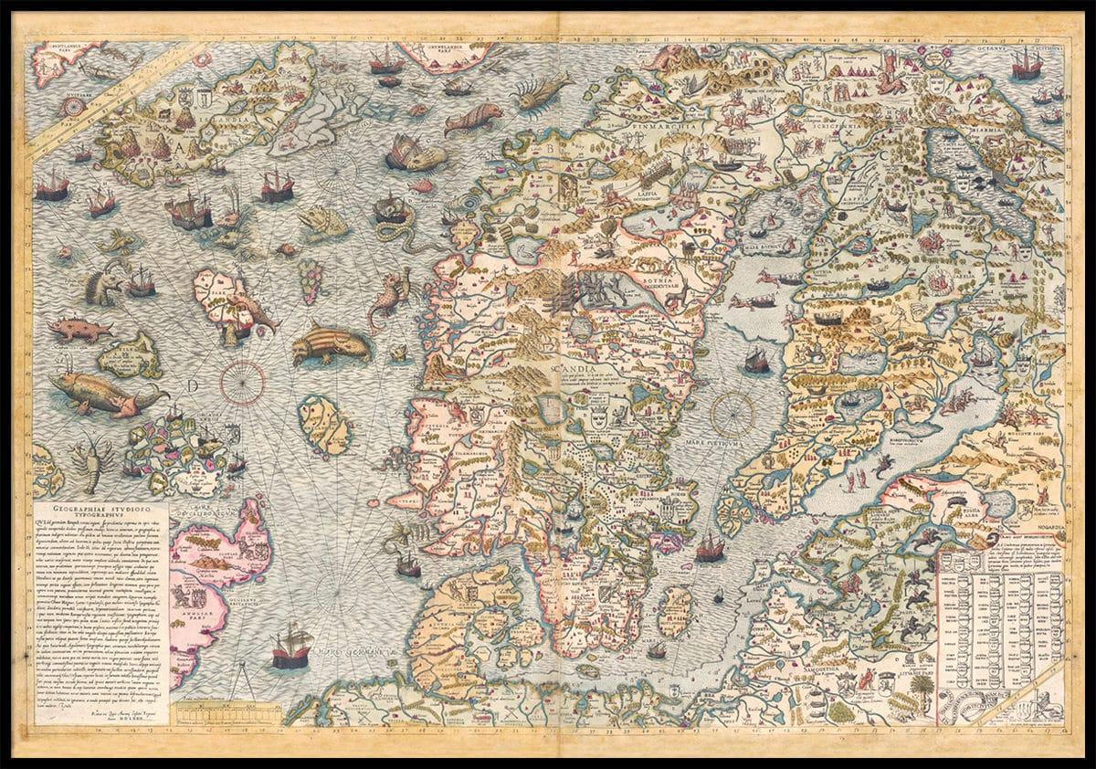 Kop Carta Marina En Karta Over Norden Fran 1572