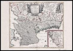 Antik karta över Skåne, Halland och Blekinge