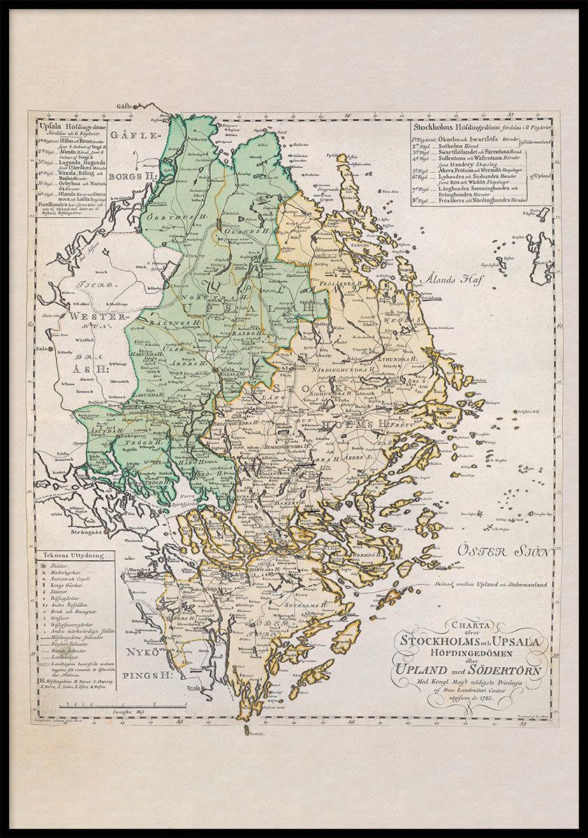 Landskapskarta Over Uppland Med Sodertorn 1785 Allmogens