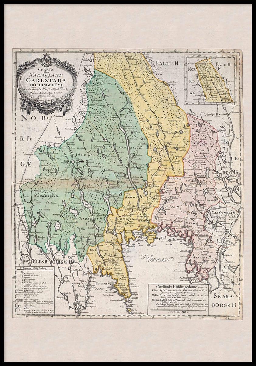 Landskapskarta Over Varmland 1783 Allmogens
