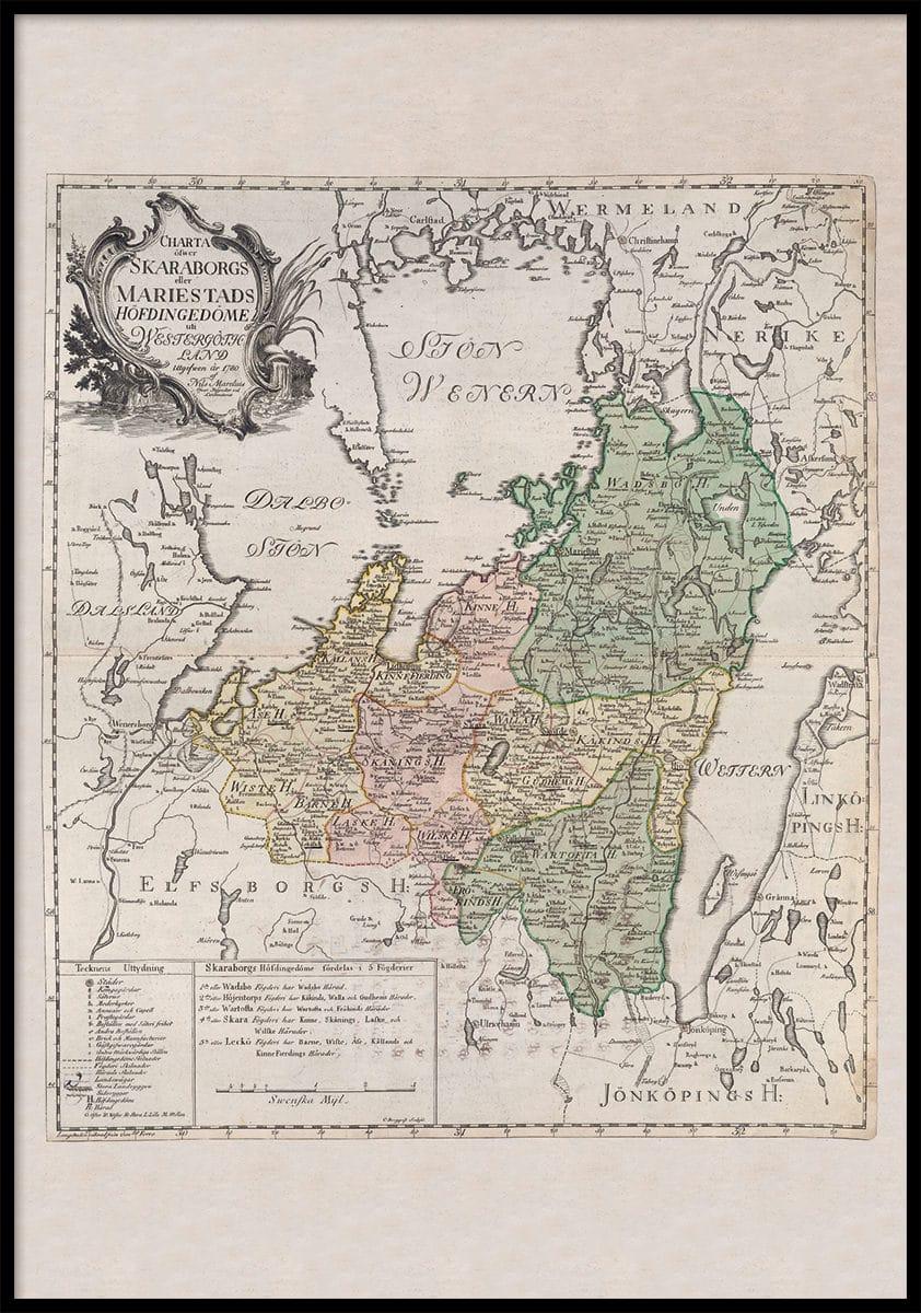 Historisk Karta Over Norra Vastergotland 1780 Allmogens
