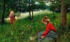 Flickor på Jämtländsk sommaräng